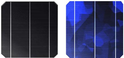 結晶型シリコンの単結晶および多結晶セルイメージ 単結晶セル(左)と多結晶セル(右) シリコン系の